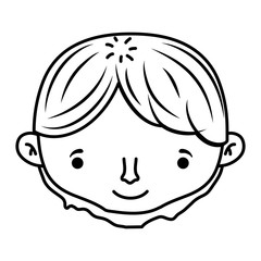 line happy man head with short hairstyle