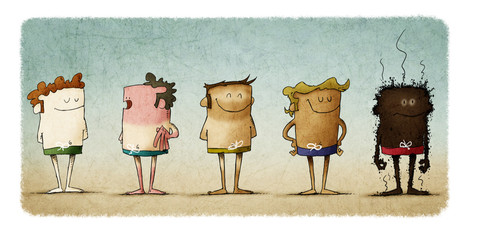 types of skin under the effects of the sun. five people with different skin color. Funny illustration about the importance of sun protection.