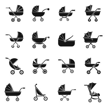 Pram stroller carriage cradle buggy icons set. Simple illustration of 16 pram stroller carriage cradle buggy vector icons for web