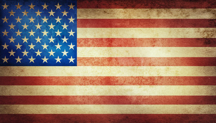 Old grunge vintage American US national flag