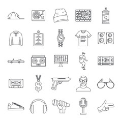 Hiphop rap swag music dance icons set. Outline illustration of 16 hiphop rap swag music dance vector icons for web