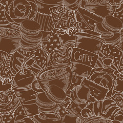 Background with coffee, cakes, donuts and sweets in brown colors. Hand drawn doodles grahic.