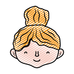 doodle cute woman head with hairstyle design