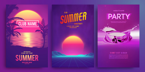 Fotorolgordijn Violet Retro background futuristic landscape 1980s style. Cocktail party, Electronic music fest, electro summer poster. Abstract gradients music background. EPS 10 Vector illustration. Vibrant design.