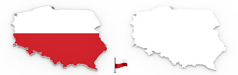 3D map of Poland white silhouette and flag