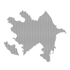 Azerbaijan map country abstract silhouette of wavy black repeating lines. Contour of sinusoid curve. Vector illustration.