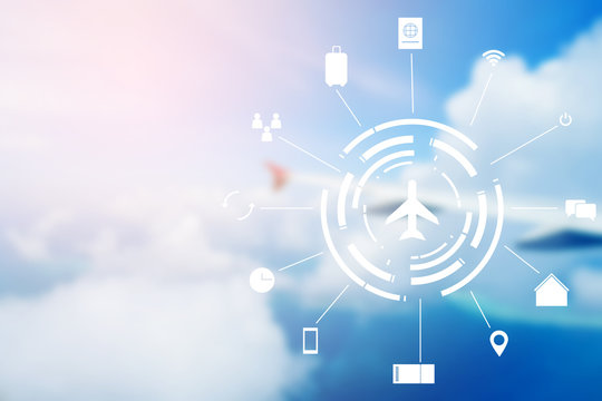 virtual interface of air transportation on blur airplane wing  fly on blue sky background concept