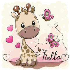 Cute Cartoon Giraffe and butterflies