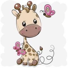 Cute Cartoon Giraffe and butterflies