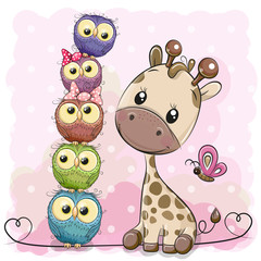 Deurstickers Uilen cartoon Cute Cartoon Giraffe and owls
