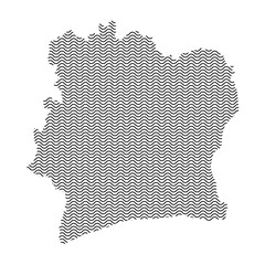 Ivory Coast map country abstract silhouette of wavy black repeating lines. Contour of sinusoid curve. Vector illustration.