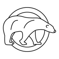Polar bear on circle logo. Outline illustration of polar bear on circle vector logo for web design isolated on white background