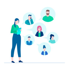 Office chat - flat design style illustration
