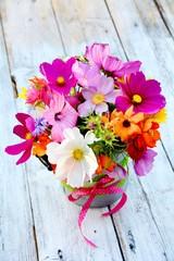 Fototapete - Grußkarte - Blumenstrauß Sommerblumen