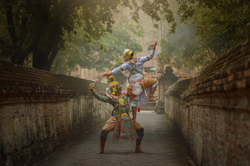 Art culture Thailand Dancing in masked khon Totsakan and Hanuman  in literature amayana,thailand culture Khon,Thailand .