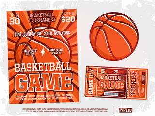 modern professional sports design poster and ticket and ball for basketball tournament