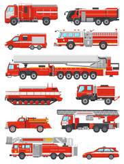 Fire engine vector firefighting emergency vehicle or red firetruck with firehose and ladder illustration set of firefighters car or fire-engine transport isolated on white background