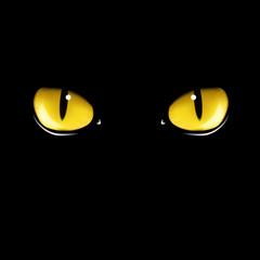 Black cat's eyes vector illustration