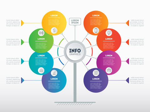 Website template. Business presentation concept with 8 options. Template of service tree, info chart or diagram. Vector infographic of technology or education process with 8 steps.