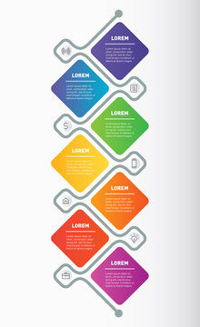 Business presentation Concept with Icons or 7 Steps Vertical Infographic Template. Vector Illustration.