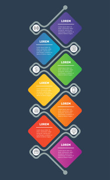 7 Steps Vertical Infographic Template or Business presentation Concept with Icons. Vector Illustration.