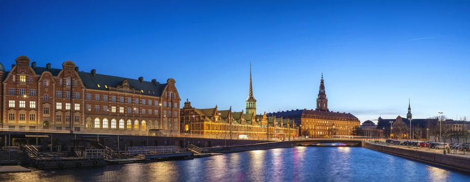 Copenhagen night city skyline panorama at Copenhagen Harbour, Copenhagen Denmark