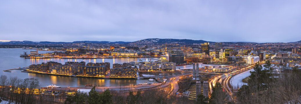 Oslo night aerial view city skyline panorama at business district and Barcode Project, Oslo Norway
