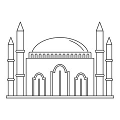 Islam mosque icon. Outline illustration of islam mosque vector icon for web design isolated on white background