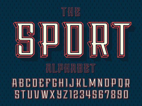 Modern professional vector 3d alphabet sport. Custom typeface