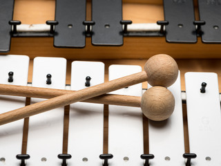 A Glockenspiel with black and white keys and wooden mallets