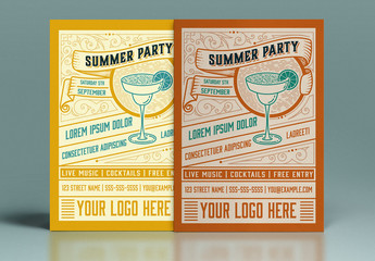 Vintage Summer Party Flyer Layout