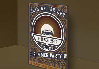 Vintage Summer Party Invitation Layout