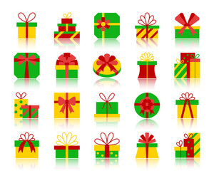 Gift simple flat color icons vector set