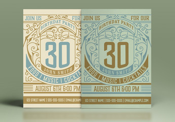 Vintage Birthday Party Invitation Layout