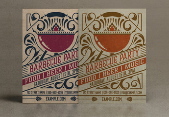 Vintage Barbecue Party Invitation Layout