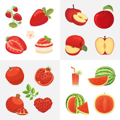 Vegetarian food icons in cartoon style. Red color fresh organic fruits. Health fruity harvest illustration.