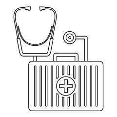 Stethoscope, first aid kit icon. Outline illustration of stethoscope, first aid kit vector icon for web design isolated on white background