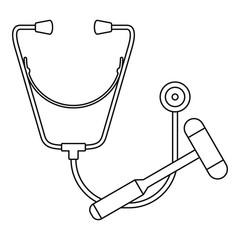 Stethoscope hammer icon. Outline illustration of stethoscope hammer vector icon for web design isolated on white background