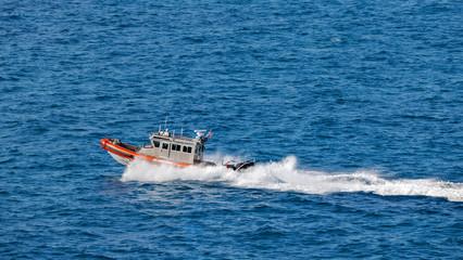 US Coast Guard boat providing security, Kay West, Florida