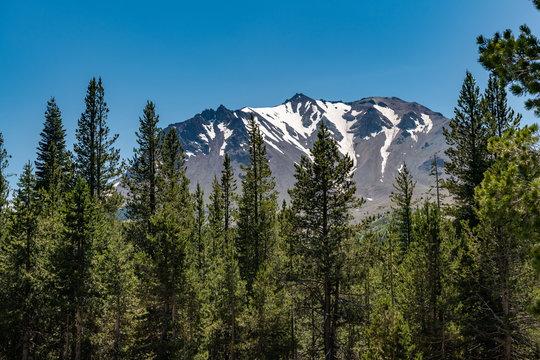 Lassen Peak on a clear summer day in Lassen Volcanic National Park