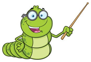 Book Worm Teacher Cartoon Character With Glasses Gesturing With A Pointer. Vector Illustration Isolated On White Background