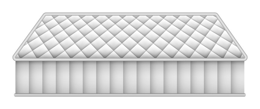 Mattress mockup. Realistic illustration of mattress vector mockup for web design isolated on white background