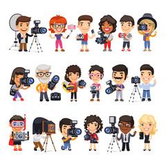 Photographers Flat Cartoon Characters