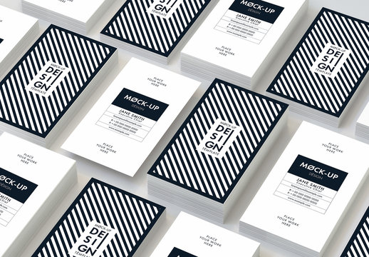 Vertical Business Cards Mockup on Gray Background