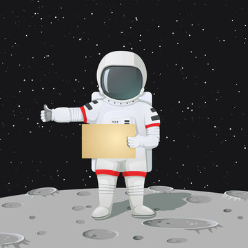 Astronaut standing on the moon surface holding a blank sign and making hitchhiker's gesture.