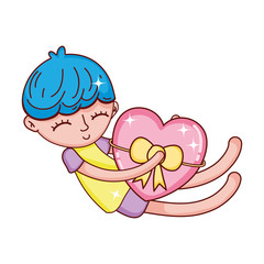 child boy sleeping with heart and ribbon bow