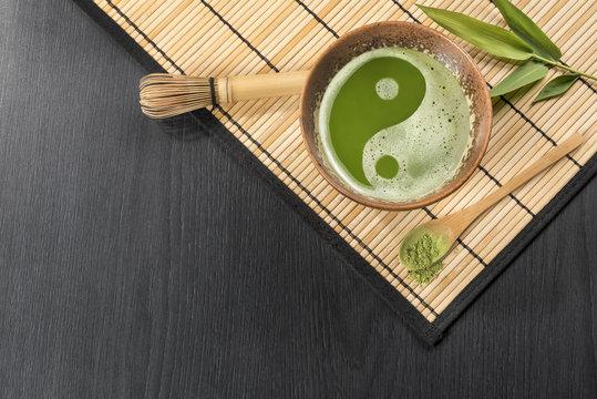 Japanese ceremonial green tea  Harmonic foamy Matcha cup of tea