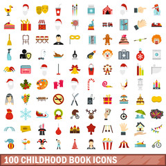 100 childhood book icons set in flat style for any design vector illustration