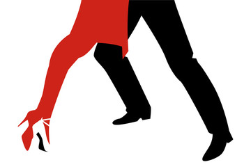 Legs of woman and man dancing tango on white background