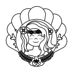 line beauty woman head with hairstyle and shell